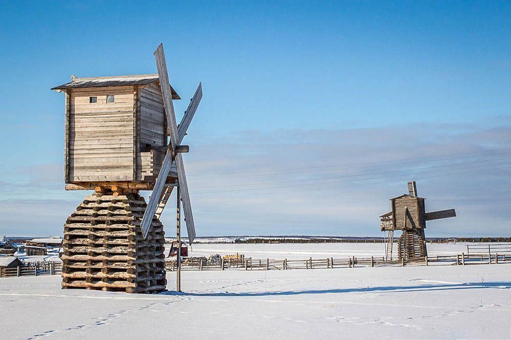 Ветряные мельницы в Кимже (Архангельская область)